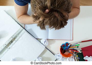 彼の, 学生, 宿題