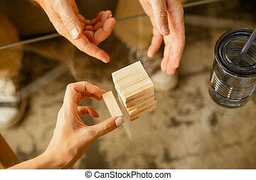 彼の, 家, コンストラクター, 終わり, シニア, 手, 木製である, 概念, の上, 勉強, -, 人