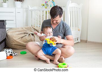 彼の, 床, 父, 若い, 息子, よちよち歩きの子, 遊び, 幸せ
