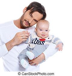 彼の, 得意な父親, 若い, ポーズを取る, 赤ん坊