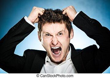 彼の, 怒る, 毛, ビジネスマン, 引き, から