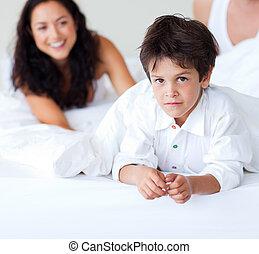 彼の, 息子, ベッド, 遊び, 家族