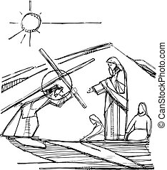 彼の, 情熱, キリスト, イラスト, イエス・キリスト