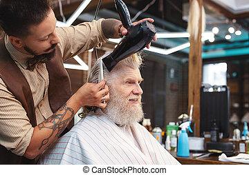 彼の, 意識した, 乾燥, 毛, クライアント, 理髪師