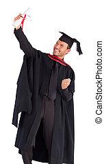 彼の, 成功, 卒業, 男の子, 祝う, 幸せ