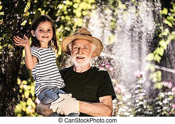 彼の, 成長した, 公園用地, 孫, 庭師, 幸せ