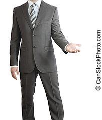 彼の, 手の 保有物, スーツ, 人, 彼, 前に