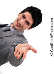 彼の, 手を伸ばす, 若い, 手, ビジネスマン, から, ハンサム