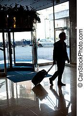 彼の, 手荷物, ホテル, 入る, ロビー, 人