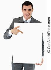 彼の, 手, 印, 微笑, ビジネスマン, 指すこと