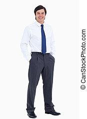 彼の, 手, 商人, 微笑, ポケット