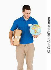 彼の, 手, 地球, セールスマン, パケット, 若い
