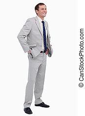 彼の, 手, 微笑, ビジネスマン, ポケット