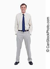 彼の, 手, 微笑, ビジネスマン, 若い, ポケット