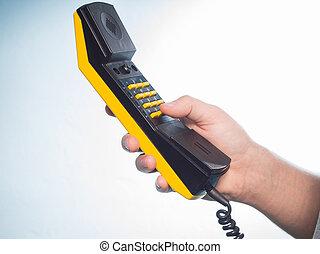 彼の, 手。, 電話 受信機, コーカサス人, 人