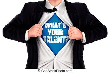 彼の, 才能, 提示, 下に, 言葉, shir, ビジネスマン, ある何が, あなたの