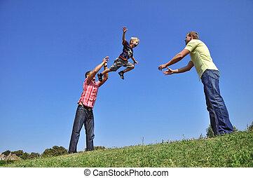 彼の, 投げる, 父, 空気, つかまえること, 息子, 彼