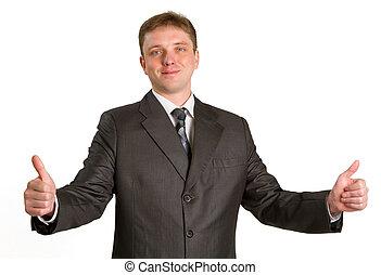 彼の, 提示, の上, 親指, ビジネスマン, 微笑, 白, 上に