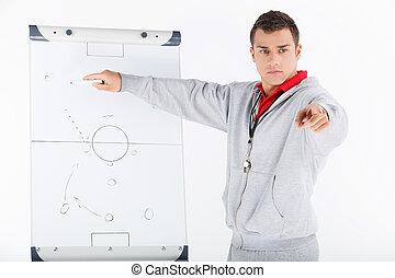 彼の, 提示, 作戦, strategy., コーチ, サッカー