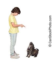 彼の, 教えられる, 従いなさい, 子犬, 子供