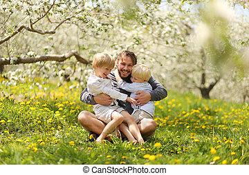 彼の, 春, 父, 若い, 外で遊ぶこと, 子供, 日, 幸せ