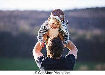 彼の, 春, nature., 父, 息子, 外気, よちよち歩きの子, 持ち上がること