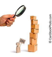 彼の, 概念, 買い物, タワー, 数字, goods.., 箱, 印, 見る ガラス, 販売, shopping., オンラインで, 売る, ボール紙, 拡大する, hands., 人