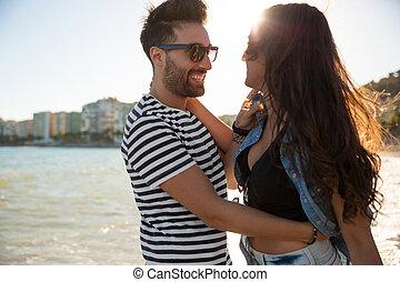 彼の, 海岸, 包含, ガールフレンド, 人, 幸せ