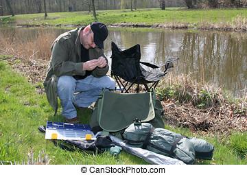 彼の, 準備, 釣り