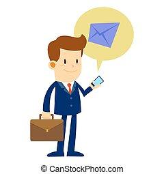 彼の, 点検, 電話, ビジネスマン, 電子メール, 痛みなさい