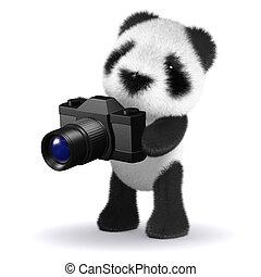 彼の, 熊, カメラ, 赤ん坊, 使うこと, パンダ, 3d