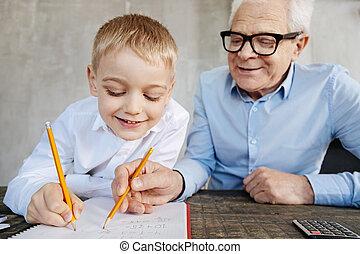 彼の, 熱狂的, 孫, 教授, 人, 数学, すてきである