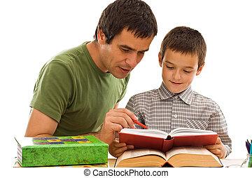 彼の, 父, 勉強, 男生徒