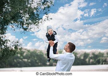 彼の, 父, 息子, 屋外で, 遊び, 情事