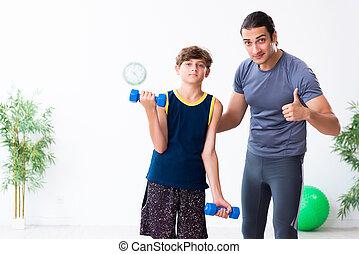 彼の, 父, 息子, 若い, 練習
