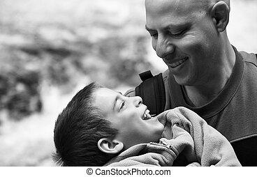 彼の, 父, -, 息子, 黒, 笑い, 保有物, loving;, 肖像画, 白