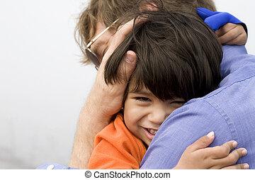 彼の, 父, 抱き合う, 息子