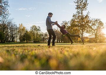 彼の, 父, 若い, 息子, よちよち歩きの子, 遊び, 幸せ