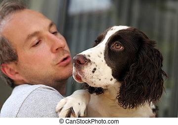 彼の, 犬, 人