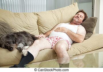 彼の, 眠ったままで, 犬, 人