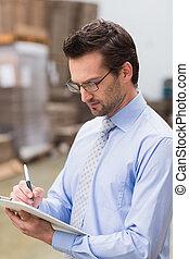 彼の, 肖像画, マネージャー, 集中される, 執筆, クリップボード