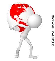 彼の, 肩, 地球, 保有物, 地球, 人, 3D