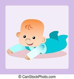 彼の, 胃, 赤ん坊, つらい, 這いなさい, あること, 幸せ