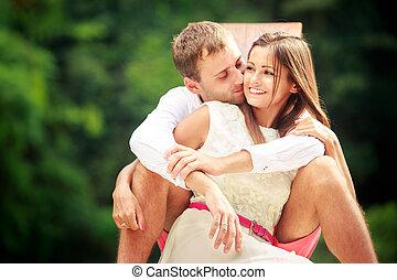 彼の, 花婿, 若い, 抱き合う, 花嫁, ブルネット