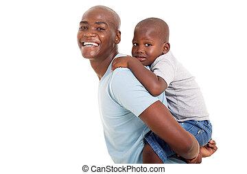 彼の, 若い父親, 背中, 息子, 届く, アフリカ