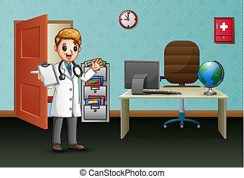 彼の, 若い, オフィス, 医者