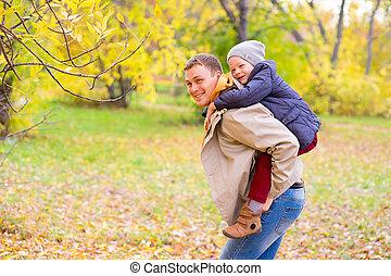 彼の, 若い, 公園, 父, 背中, 息子, 秋