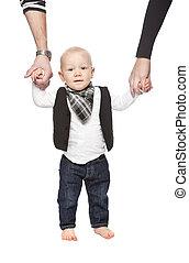 彼の, 若い, 親, 手を持つ, 赤ん坊
