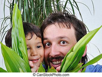 彼の, 葉, 父, 息子, の後ろ, 緑, 隠ぺい, 幸せ