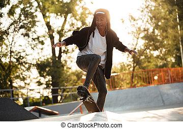 彼の, 跳躍, アメリカ人, スケート, 人, アフリカ